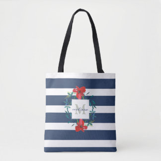 Red Floral Blue & White Stripes Monogram Tote Bag
