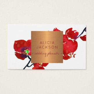 Red floral branch glam copper chic wedding planner business card