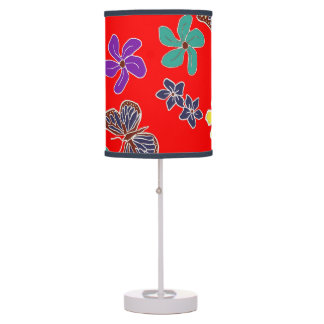 Red Floral Butterflies Table Light Table Lamp