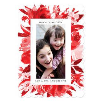 Red Floral Christmas Holiday Photo Card