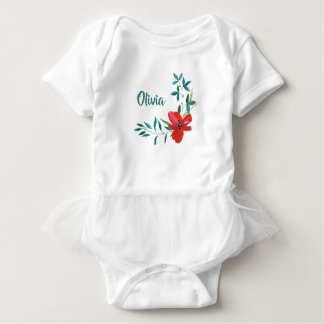 RED FLORAL DESIGN AND GREEN LEAVES BABY BODYSUIT