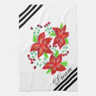 Red Floral Designer Kitchen Towel