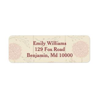 Red Floral Display Return Address Label