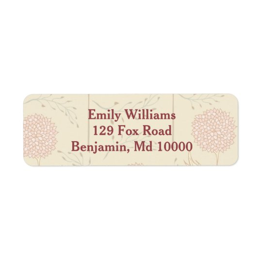 Red Floral Display Return Address Label