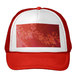 Red Floral Elegance Hat - Customizable Trucker Hats