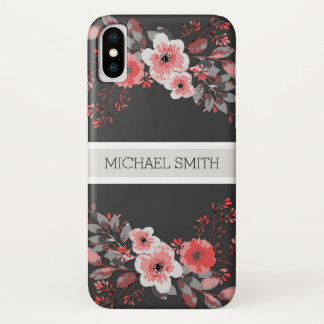 Red Floral Elegant Monogram Modern Jet iPhone X Case