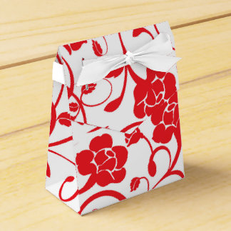 Red Floral Favor Box with White Bow