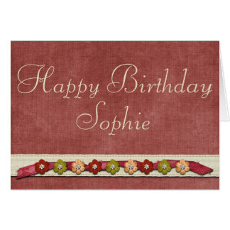 Red floral feminine birthday card