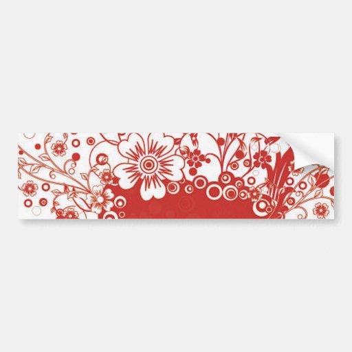 Red Floral Frame Vector Illustration Bumper Stickers