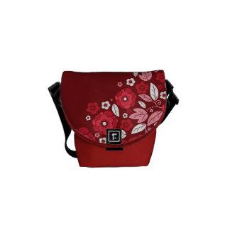 Red Floral Garden Mini Handbag Messenger Commuter Bag