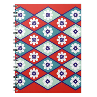 Red Floral Geometric Pattern Notebook
