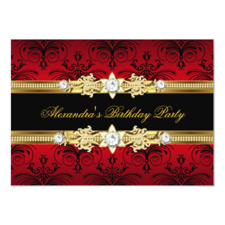 """Red Floral Gold Black Women's Birthday Party 4.5"""" X 6.25"""" Invitation Card"""