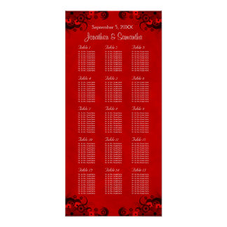 Red Floral Gothic 15 Wedding Tables Seating Charts Poster