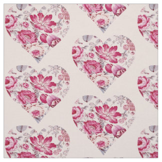 Red floral heart fabric