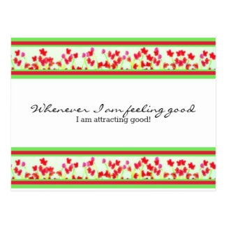 Red Floral - I am feeling good and attracting good Postcard