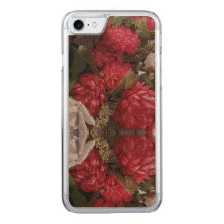 Red Floral Iphone Slim Wood Case