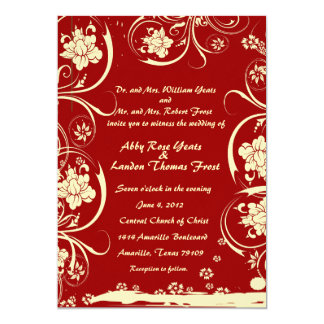Red Floral Lace Wedding Invitation