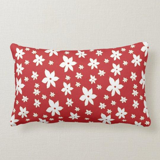 Red Floral Lumbar Pillow