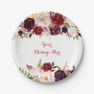 Red Floral Marsala Fall Bridal Shower Paper Plate