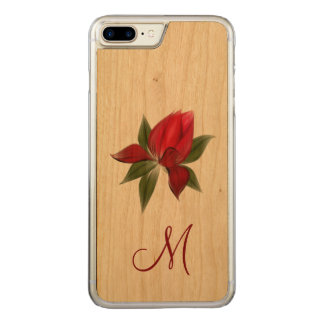 Red Floral Monogram Carved iPhone 7 Plus Case