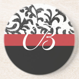 Red Floral Monogram Coaster
