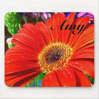 Red floral mousepad with name