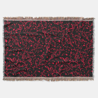 Red Floral Music Pattern On Black or Any Color Throw Blanket