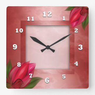 Red Floral on Red Clocks