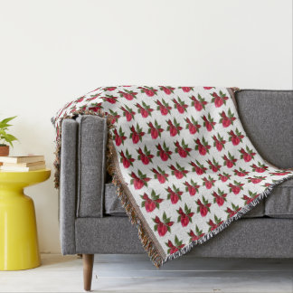 Red Floral on White Throw