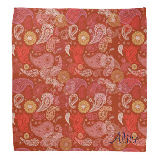 Red  floral paisley damask head kerchiefs