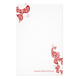 Red Floral Peacock Chic Asian Wedding Stationery