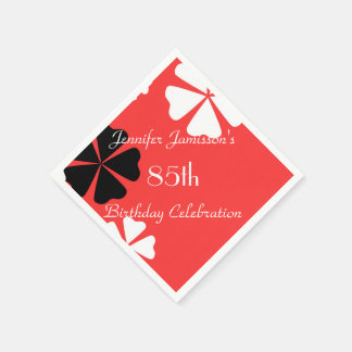 Red Floral Personalized 85th Birthday Party Paper Napkins