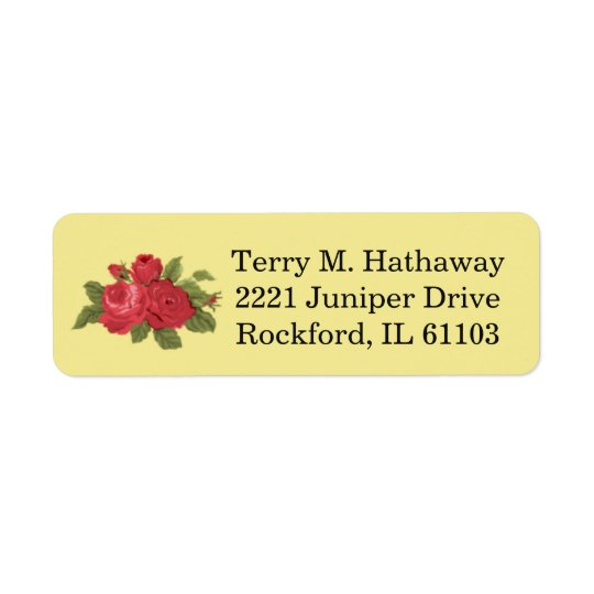 Red Floral Roses Return Address Label