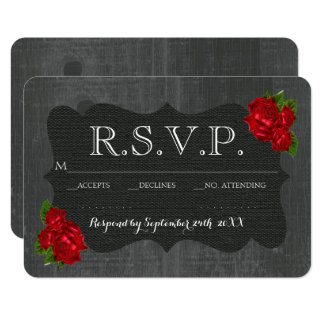 Red Floral Roses Wood Gothic Wedding RSVP Card