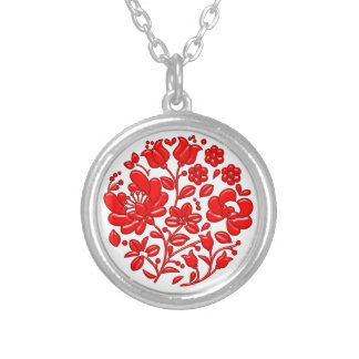 Red Floral Silver Plated Necklace