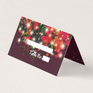 Red Floral String Light Wedding Place Table Number Card