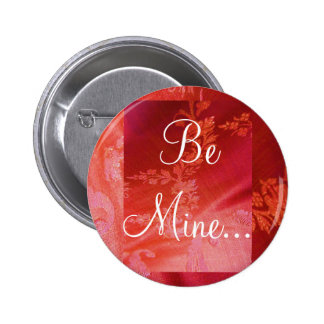 Red Floral Valentine I Button - Customizable