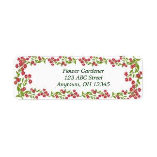 Red Floral Vines Label Return Address Label