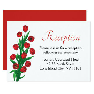 Red Floral Wedding Reception Tulip Spring Flowers Card