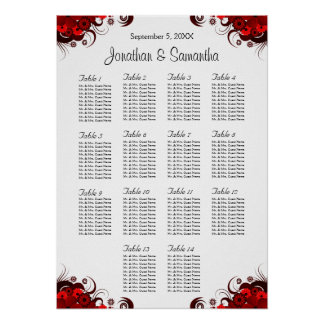 Red Floral & White 14 Wedding Tables Seating Chart Poster