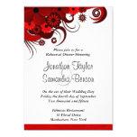 Red Floral White Wedding Rehearsal Dinner Invites