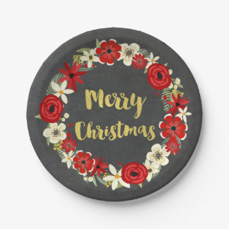 Red Floral Wreath Gold Chalkboard Christmas Plates 7 Inch Paper Plate