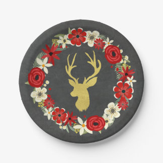 Red Floral Wreath Gold Deer Chalkboard Christmas 7 Inch Paper Plate