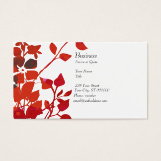 Red Floral Zen Harmony Business Card