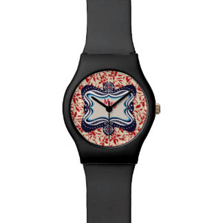 Red Florals with Vintage Blue Lable Wristwatch