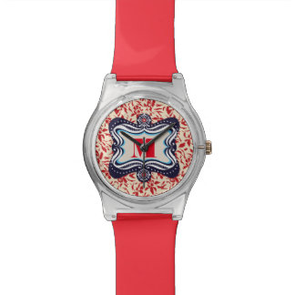 Red Florals with Vintage Blue Lable Wristwatches