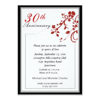 Red Flourish Anniversary Invitation