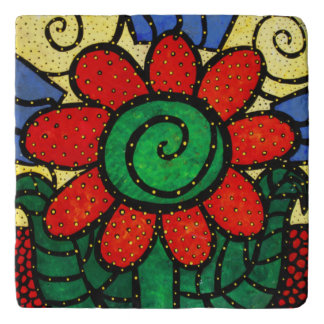 Red Flower Abstract Trivet