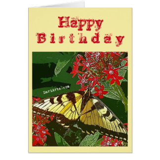 Red Flower and Butterfly birthday card w/greeting