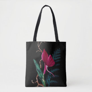 Red Flower and Fern Tote Bag